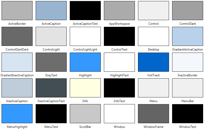 223 Predefined System Colors 2000 Things You Should Know About Wpf